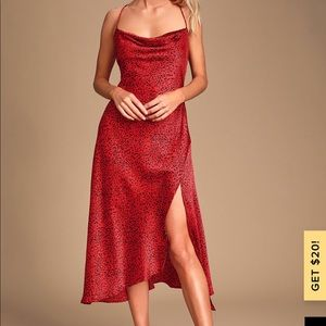 ASTR the label red leopard cowl dress